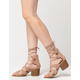 QUPID Lace Up Ghillie Womens Block Heels