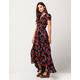PATRONS OF PEACE Floral Rose Wrap Maxi Dress