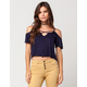 FULL TILT Cross Cold Shoulder Womens Top
