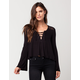 CHLOE & KATIE Lacey Lace Up Womens Top