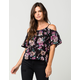 PATRONS OF PEACE Floral Cold Shoulder Womens Top
