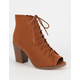 SODA Lace Up Peep Toe Womens Booties