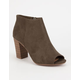 DELICIOUS Peep Toe Womens Booties