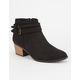 QUPID Perforated Buckle Womens Booties