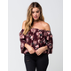 FULL TILT Watercolor Floral Off The Shoulder Womens Top