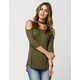 POLLY & ESTHER Cold Shoulder Womens Top