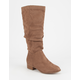 SODA Faux Suede Slouched Womens Boots