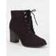 SODA Lace Up Womens Heeled Booties