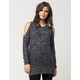 FULL TILT Marled Cold Shoulder Womens Sweater