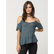 FULL TILT Baby Ribbed Cold Shoulder Womens Top