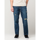 CHARLES AND A HALF Indigo Destructed Mens Slim Straight Jeans