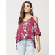 FULL TILT Dusty Rose Womens Cold Shoulder Top