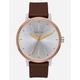 NIXON Kensington Leather Rose Gold & Silver Watch