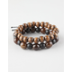 BLUE CROWN 2 Pack Wooden Bead Bracelets
