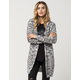 WOVEN HEART Marled Knit Womens Hooded Cardigan
