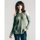 RSQ Waffle Knit Womens Cold Shoulder Top