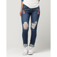 MACHINE Embroidered Rose Womens Skinny Jeans