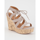 QUPID Braided Lace Up Womens Wedges
