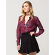 FULL TILT Burgundy Grid Womens Plaid Shirt