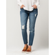 REWASH Mid-Rise Destructed Womens Skinny Jeans