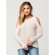 FULL TILT Knit Womens Cold Shoulder Top
