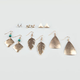 FULL TILT 6 Pair Bird/Pyramid/Leaf Earrings