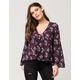 FULL TILT Draped Floral Womens Top