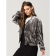 FREE PEOPLE Ruched Velvet Womens Bomber Jacket