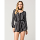MIMI CHICA Striped Lace Up Womens Romper