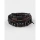 BLUE CROWN Leather/Wood Bead Bracelets 3 Pack