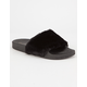 QUPID Faux Fur Black Womens Sandals