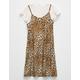 FULL TILT Leopard Girls 2Fer Tee Dress