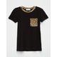 FULL TILT Leopard Trim Girls Ringer Tee