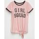 H.I.P. Girl Squad Girls Tie Front Ringer Top