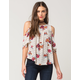 EYESHADOW Floral Ruffle Womens Top