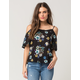 PATRONS OF PEACE Cold Shoulder Floral Womens Top