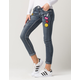 SOUNDGIRL Cuff Patch Womens Ankle Jeans