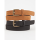 2 Pack Faux Leather & Suede Belts