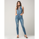 ALMOST FAMOUS Zip Front Womens Denim Jumpsuit