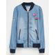 FULL TILT Chambray Patch Girls Bomber Jacket