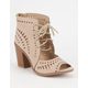 YOKI Laser Cut Lace Up Womens Heels