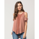 OTHERS FOLLOW Cold Shoulder Crochet Womens Top