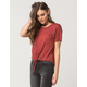FULL TILT Womens Tie Front Pocket Tee
