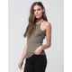 BOZZOLO Ribbed High Neck Womens Tank