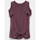 FULL TILT Knot Front Cold Shoulder Girls Top