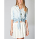 MIMI CHICA Blasted Chambray Womens Shirt