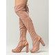 DELICIOUS Peep Toe Over The Knee Womens Boots