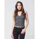FULL TILT Rib Keyhole Womens Top