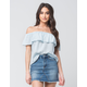 FULL TILT Chambray Off The Shoulder Womens Top