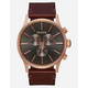 NIXON Sentry Chrono Leather Rose Gold & Brown Watch